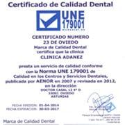 certificado UNE dentista en Oviedo