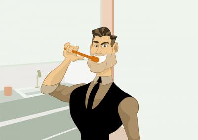 hombre lavandose los dientes